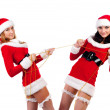 Two girl friends in christmass costumes. — Stockfoto