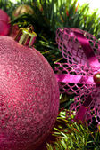Christmas background with red bauble . — Stock Photo