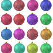 Stock Photo: Collection of colored christmas ornament .