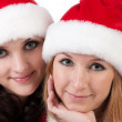 Stock Photo: Two girl friends in christmass costumes