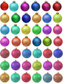 Collection of colored christmas ornament . Isolated over white. — Stock Photo