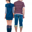 Sad young pair. Rear view. - Stock Photo