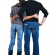 Young couple looks where that. Rear view. — Stock Photo #4634588