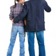 Young couple looks where that. Rear view. — Stock Photo #4634618