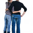 Young couple looks where that. Rear view. — Stock Photo #4634641