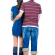 Young couple looks where that. Rear view. — Stock Photo #4634660