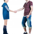 Young couple hand shake. — Stock Photo