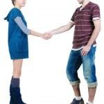 Young couple hand shake. — Stock Photo