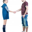 Stock Photo: Young couple hand shake.