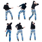 "Collection ""Young man dancing"". Rear view. — Stock Photo"