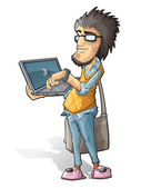 Programmer_with_a_laptop — Stock Vector