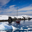 Stockfoto: Yacht in Antarctica