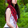 Girl in a red kerchief - Stock Photo