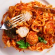 Spaghetti with meatballs — Stock Photo