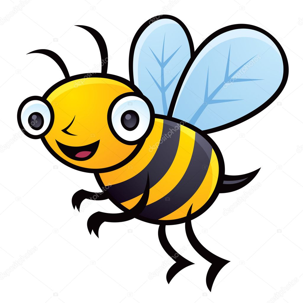 Cartoon vector illustration of a happy little bumblebee flying. — Stock Vector #4731818