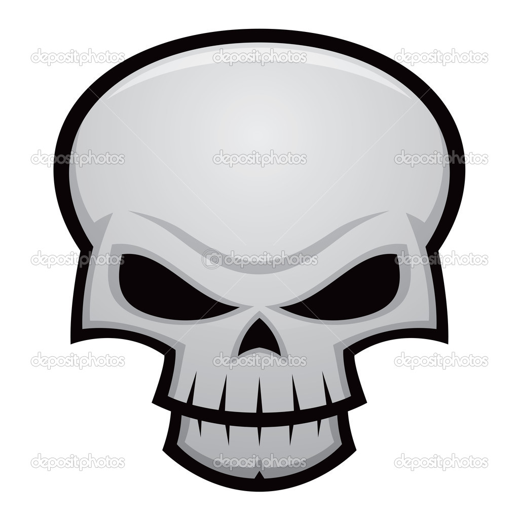 Cartoon vector illustration of an evil, stylized skull. Great for Halloween, pirate flags, warnings, etc. — Stock Vector #4769314