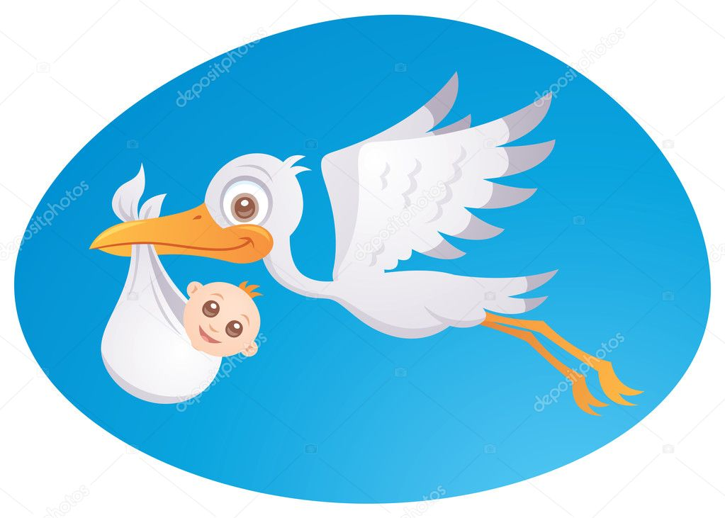 Vector cartoon illustration of a stork delivering a cute little newborn baby. — Stock Vector #5025807