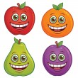Cartoon Fruit Characters — Stock Vector