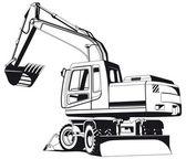 Excavator outline — Stock Vector