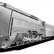 Yellow old-fashioned train_engraving — Stockvectorbeeld
