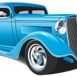 Stock Vector: Light blue hot rod