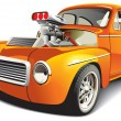Orange drag car — Imagen vectorial