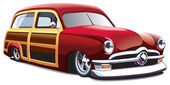 Wooden body hot rod — Stockvector