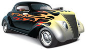 Hot rod with flame ornaments — Vettoriale Stock