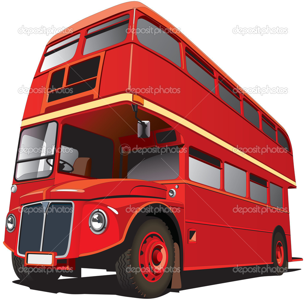 Detailed vectorial image of symbol of London - best-known of England double-decker bus - Routhmaster, isolated on white background. — Stock Vector #4679319