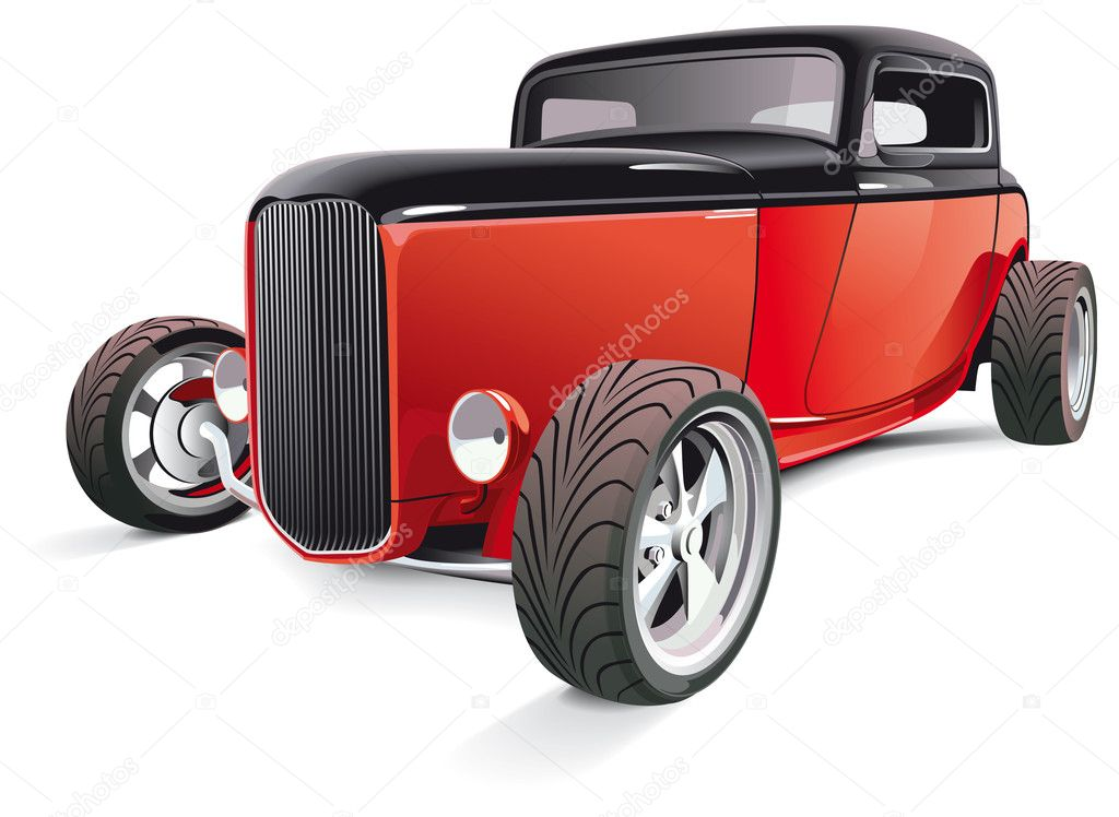 Vectorial image of red hot rod, isolated on white background. Contains gradients and blends. — Stock Vector #4679335
