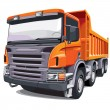 Large orange truck - Stock Vector
