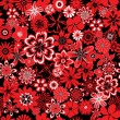 Seamless pattern with red and black flowers — Stock Vector