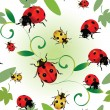 Stock Vector: Seamless ladybugs