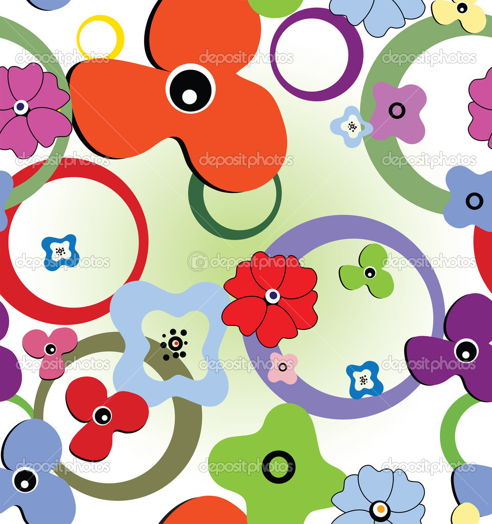 Seamless colourful pattern with flowers and rings — Vektorgrafik #4657859