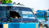 Broken windscreen — Stock Photo