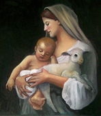 "Oil Pastel Copy of Bouguereau's ""Innocence"" — Stock Photo"