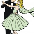 Stock Photo: Illustration of a couple dancing, drawn with old comic style