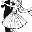 Illustration of a couple dancing, drawn with old comic style — Stock Photo #4007504