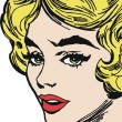 Stock Photo: Face of beautiful woman, drawn with old comic style