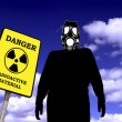 Illustration of a man with anti radiation mask - 