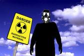 Illustration of a man with anti radiation mask — Stock Photo