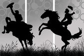 Illustration of a cowboy riding his horse — Stock Photo