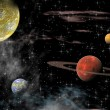 Views of the universe with several planets on a background of stars — Stock Photo