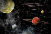 Views of the universe with several planets on a background of stars — 图库照片