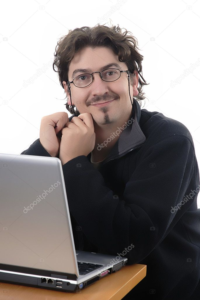 Young man working with a personal computer — Stock Photo #4857054