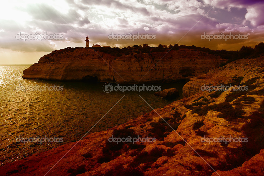Lighthouse at the coast of algarve, the south of portugal  Zdjcie stockowe #4858278