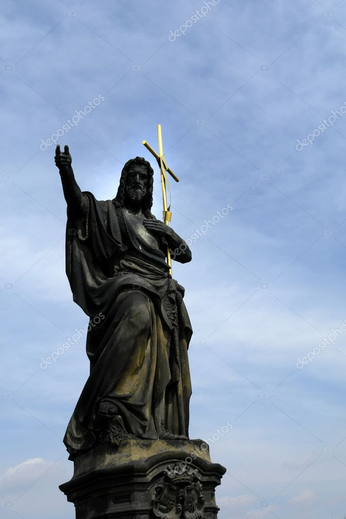 Christ statue detail and the sky as background  Stock Photo #4870632
