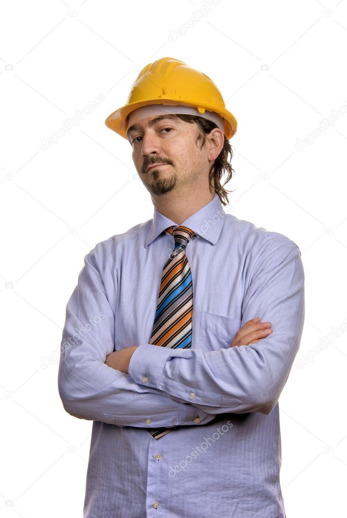 An engineer with yellow hat, isolated on white — Stock Photo #4883590