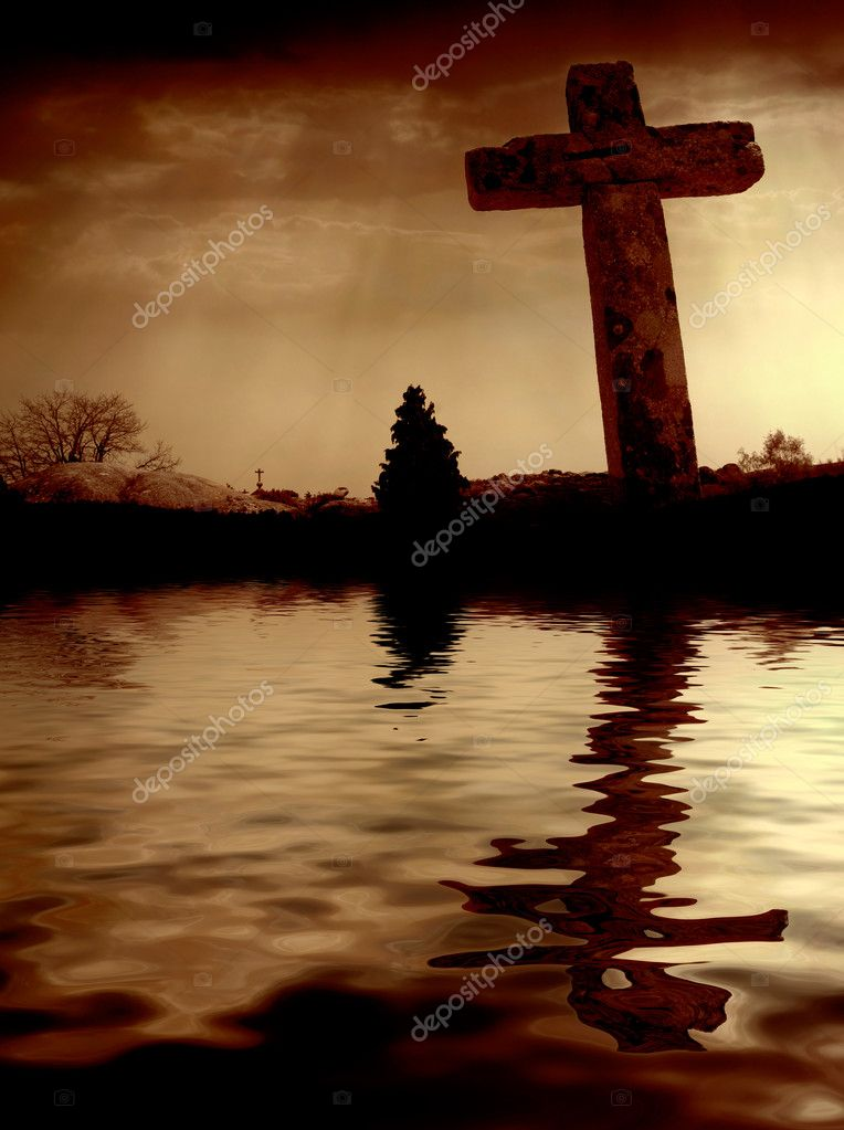 Cross silhouette and the clouds at sunset — Stock Photo #4883991