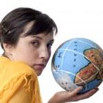 Holding a globe — Stock Photo